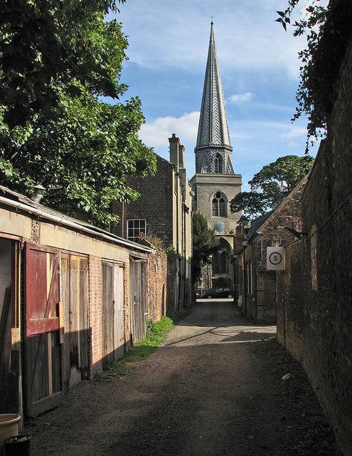 King's Lynn: St Nicholas's spire from Ship Lane