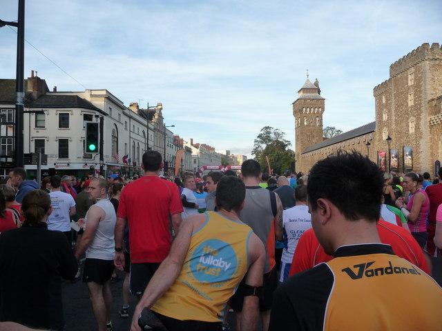 Part of Cardiff city centre before the 2013 Cardiff Half Marathon