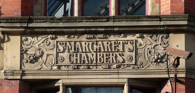 Detail of St Margaret's Chambers, Piccadilly, Manchester (1)