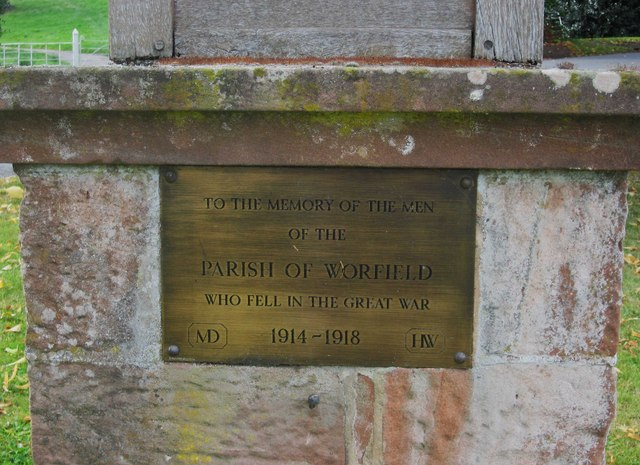 Worfield War Memorial (2) - plaque, Main Street, Worfield, Shrops