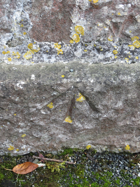 Rivet bench mark on St Berres church
