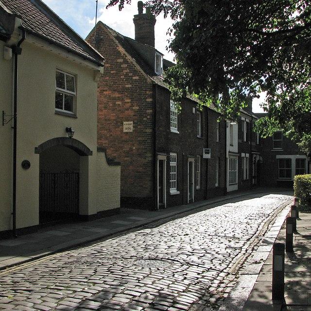 King's Lynn: sunlit cobbles in Pilot Street