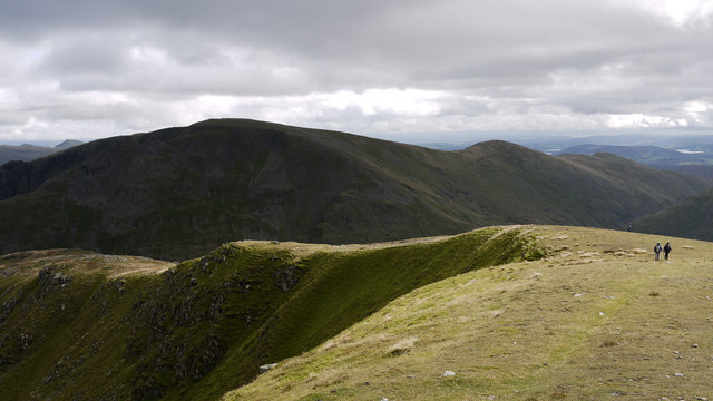 Sunlit ridge of Dollywaggon Pike
