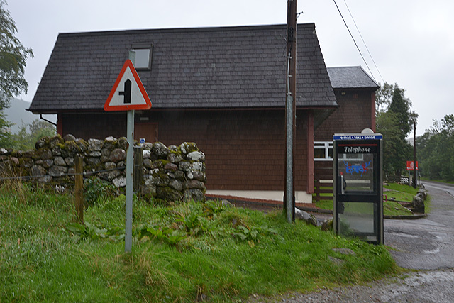 Youth Hostel and phone box, Glen Nevis