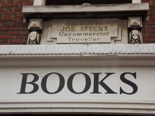 Rochester: here lived Joe Specks, an uncommercial traveller
