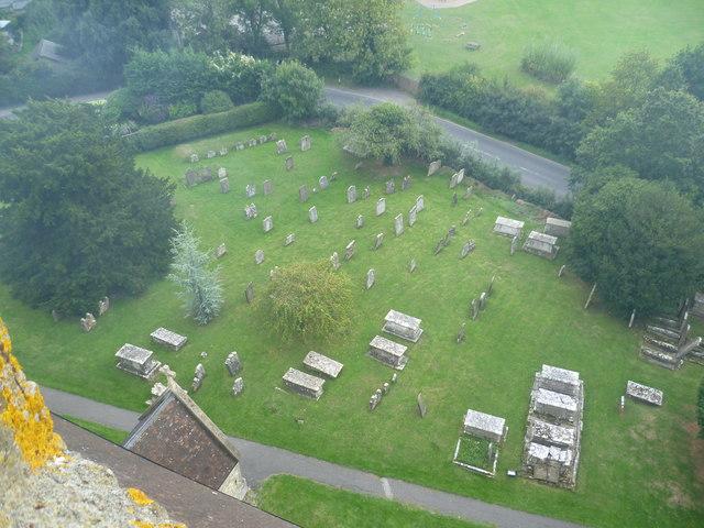 All Saints Churchyard, Biddenden, from the tower