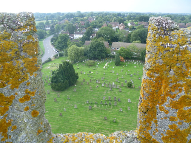 All Saints Churchyard, Biddenden, from the tower