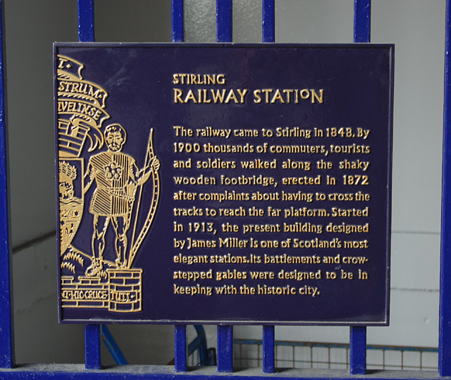 Stirling railway station plaque