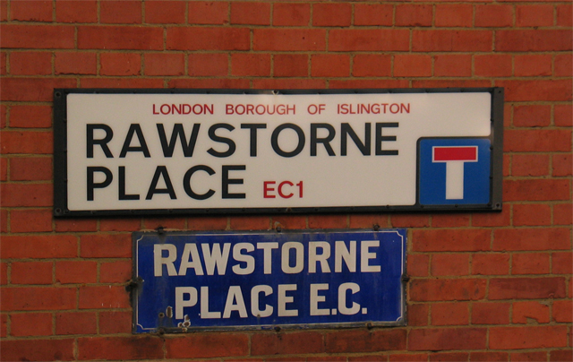 Street signs, Rawstorne Place