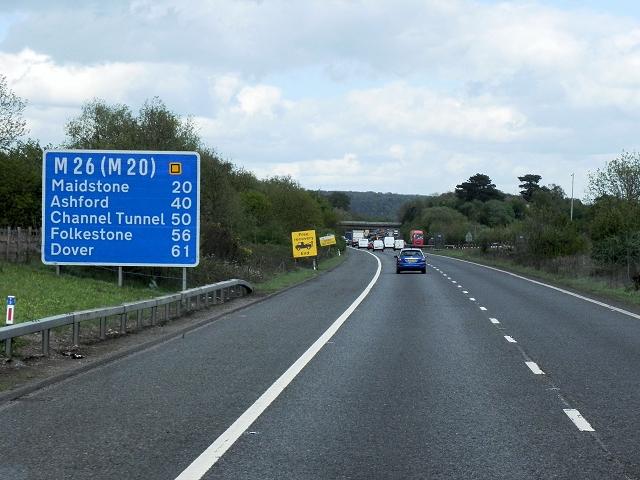 Eastbound M26 near Dunton Green
