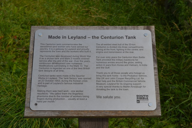 Made in Leyland - The Centurion Tank Plaque, Farington Moss, near Leyland