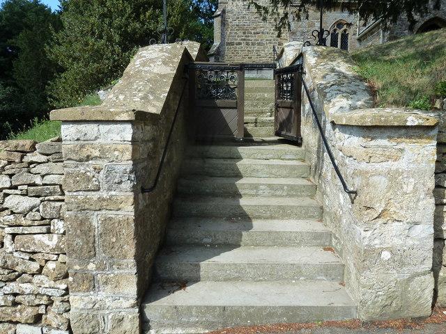 St Nicholas, Sandford Orcas: steps to the churchyard