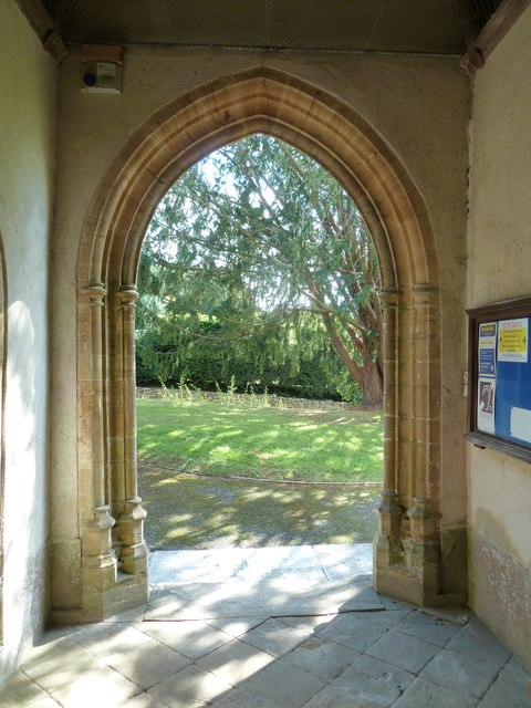 St Nicholas, Sandford Orcas: looking out of the south door