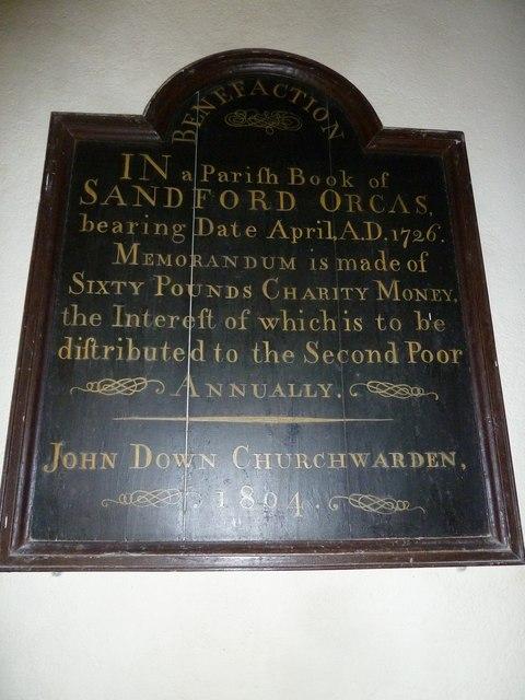 St Nicholas, Sandford Orcas: memorandum for the second poor