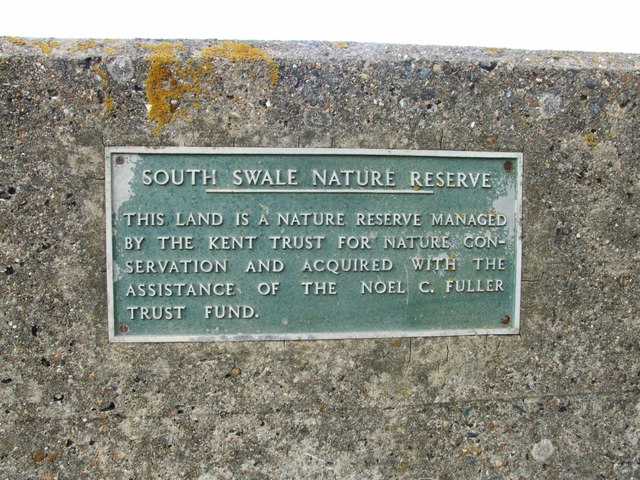 Sign in the Sea Wall for South Swale Nature Reserve