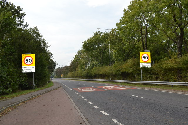 Speed Limit Signs on the A584 Preston New Road, near Freckleton Village