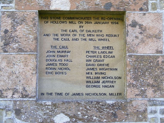Hollows Mill - commemorative plaque