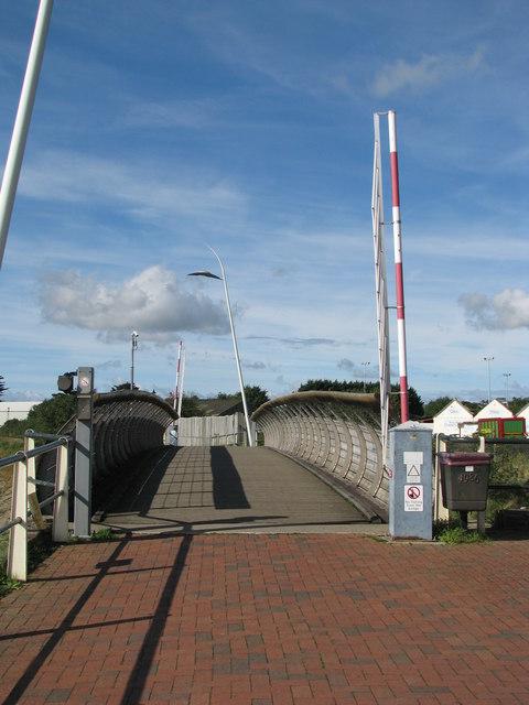 Swing bridge carries footpath and cycleway
