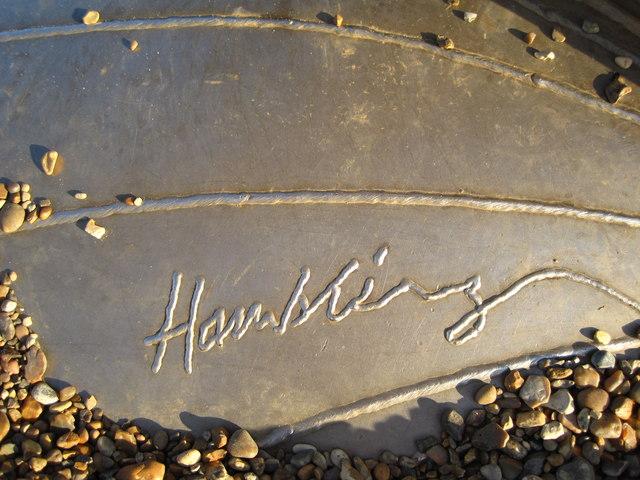 Maggi Hambling's signature on The Scallop