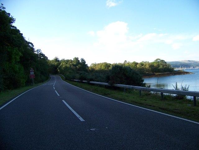 A828 winding round Loch Creran