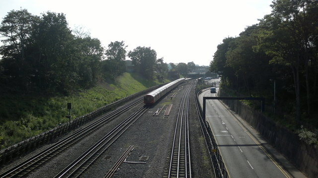 Rail and road from the Perrymans Farm Road bridge