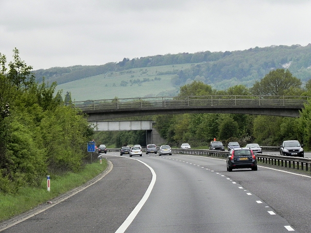 Foot and Rail Bridges over the M26 near Otford