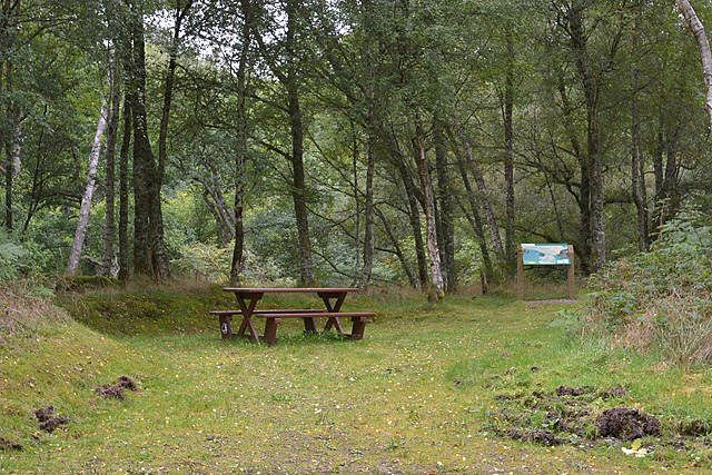 Picnic table and information board