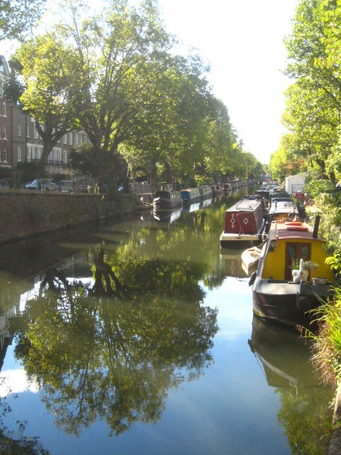 Narrow boats moored on Regent's Canal at Blomfield Road moorings