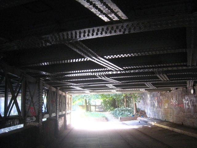 Regent's canal towpath under the railway lines serving Marylebone Station