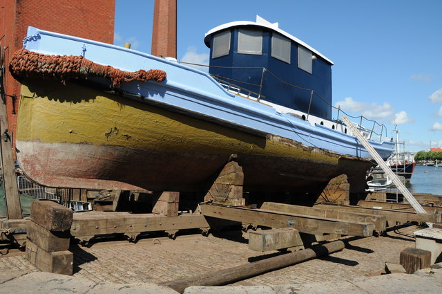 Boat in boat builder's yard