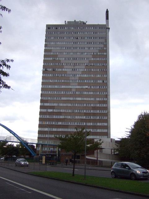 Tower block off Wolverhampton Road