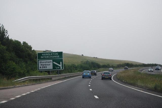 A27 approaching the Hangleton Interchange