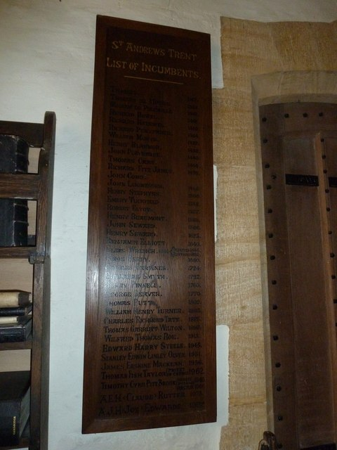 St Andrew, Trent: incumbency board (a)