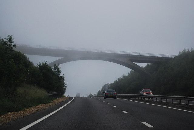 Ditchling Road Bridge in mist, A27