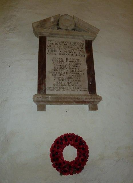 St Andrew, Trent: memorial (4)
