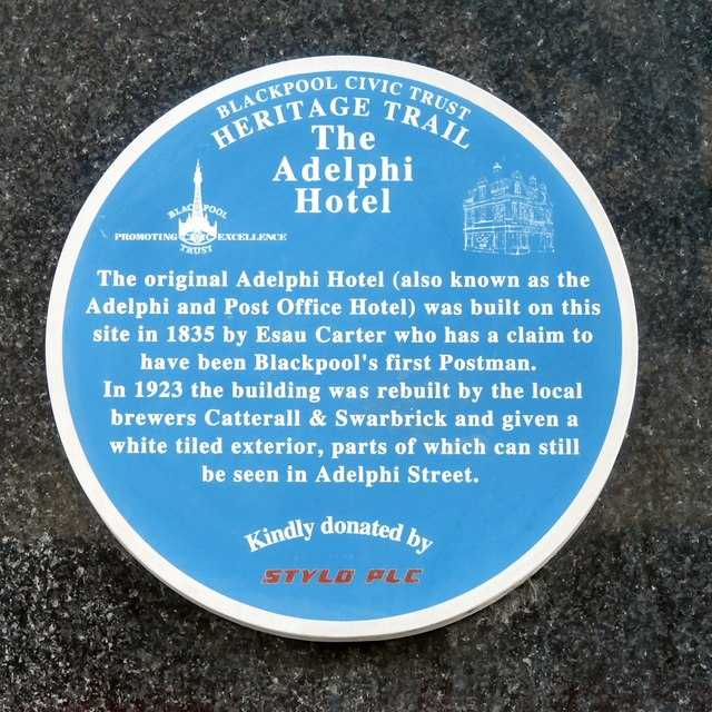 Blue plaque: The Adelphi Hotel