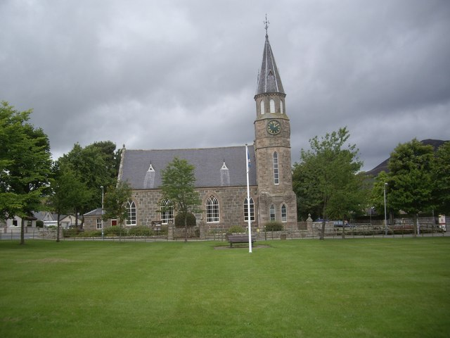Rhynie Kirk and flagpole