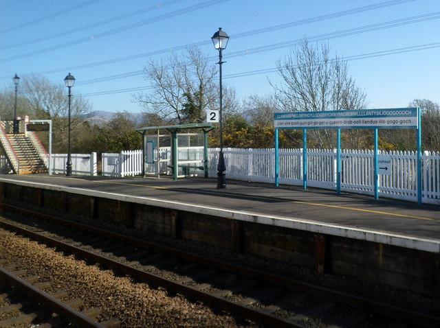 Platform 2 at Llanfairpwll railway station