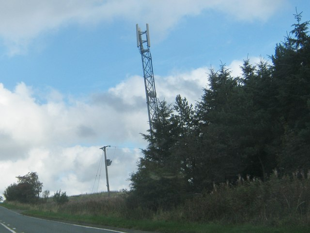 Communications mast east of the A68