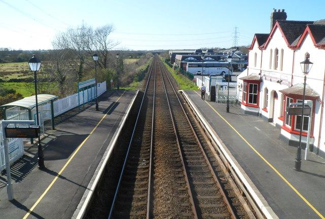 West along Llanfairpwll railway station