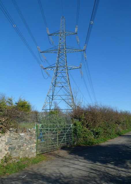 Electricity pylon on the east side of Station Road, Llanfairpwll