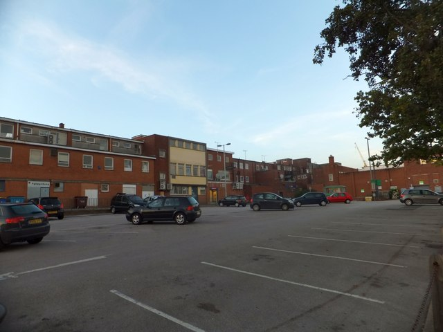 Car park and rear elevations of shops in Sidwell Street, Exeter
