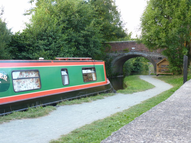 Canal, Towpath and Gledrid bridge from the garden of the Poacher's Pocket pub