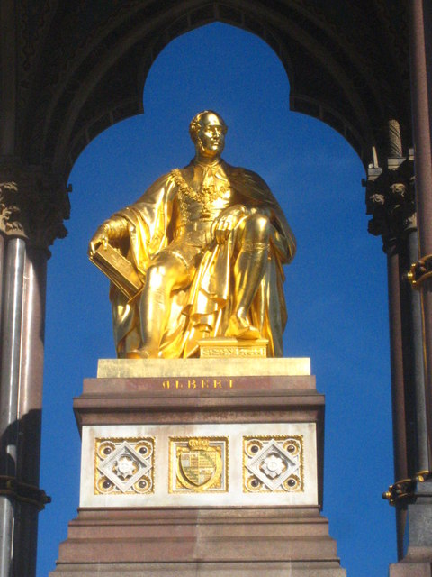 The statue of Prince Albert on the Albert Memorial