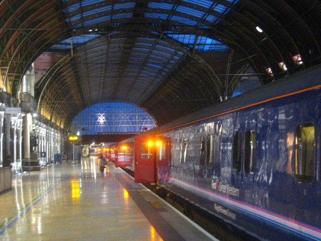 The Cornish Night Riviera on Platform 1 at Paddington Station