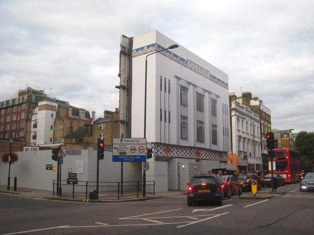Facade of the Queens Cinema in Bishops Bridge Road