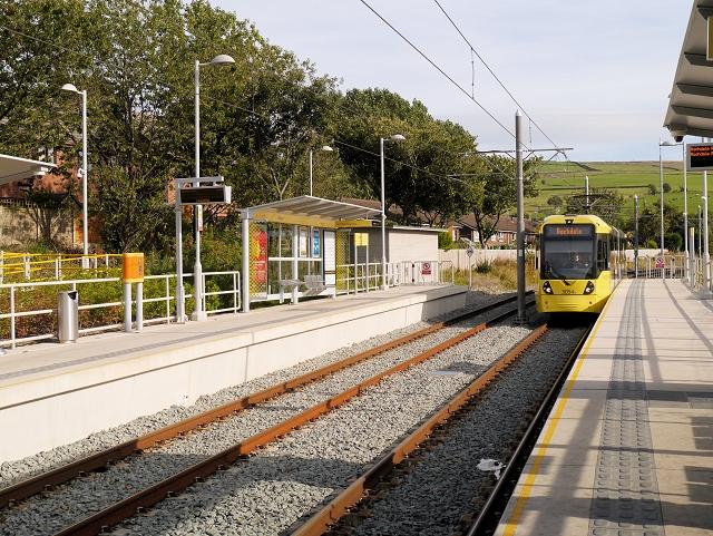 Metrolink tram Arriving at Newhey