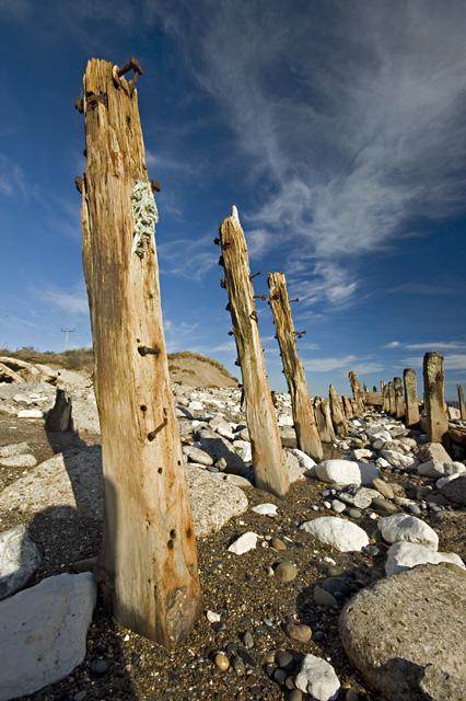 Eroded posts on Spurn
