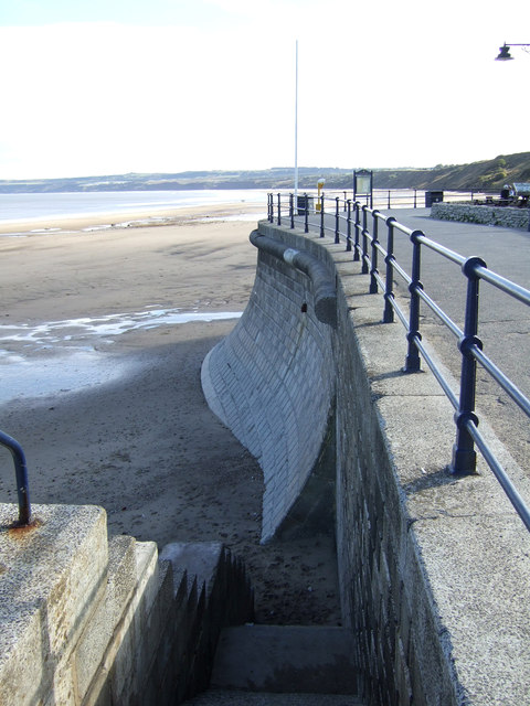 Steps down to beach and sea wall, Filey