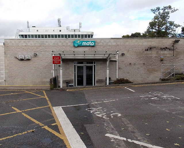 Southern entrance to the main buildings at Hilton Park services, Essington